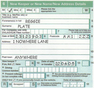 V5c Section 6 New Keeper Vehicle Registration Transfer